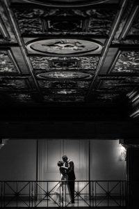 Romantic night shot of bride and groom at the Ballroom at the Ben