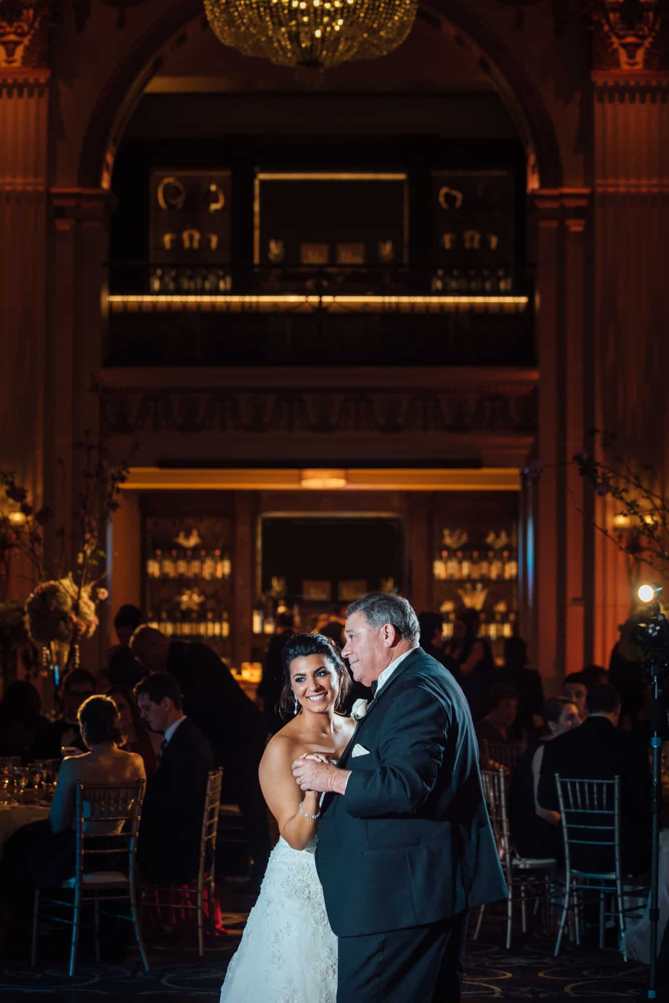 Bride and her father dancing at the Ballroom at the Ben