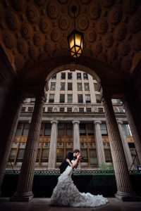 Romantic image of couple kissing at the Ballroom at the Ben