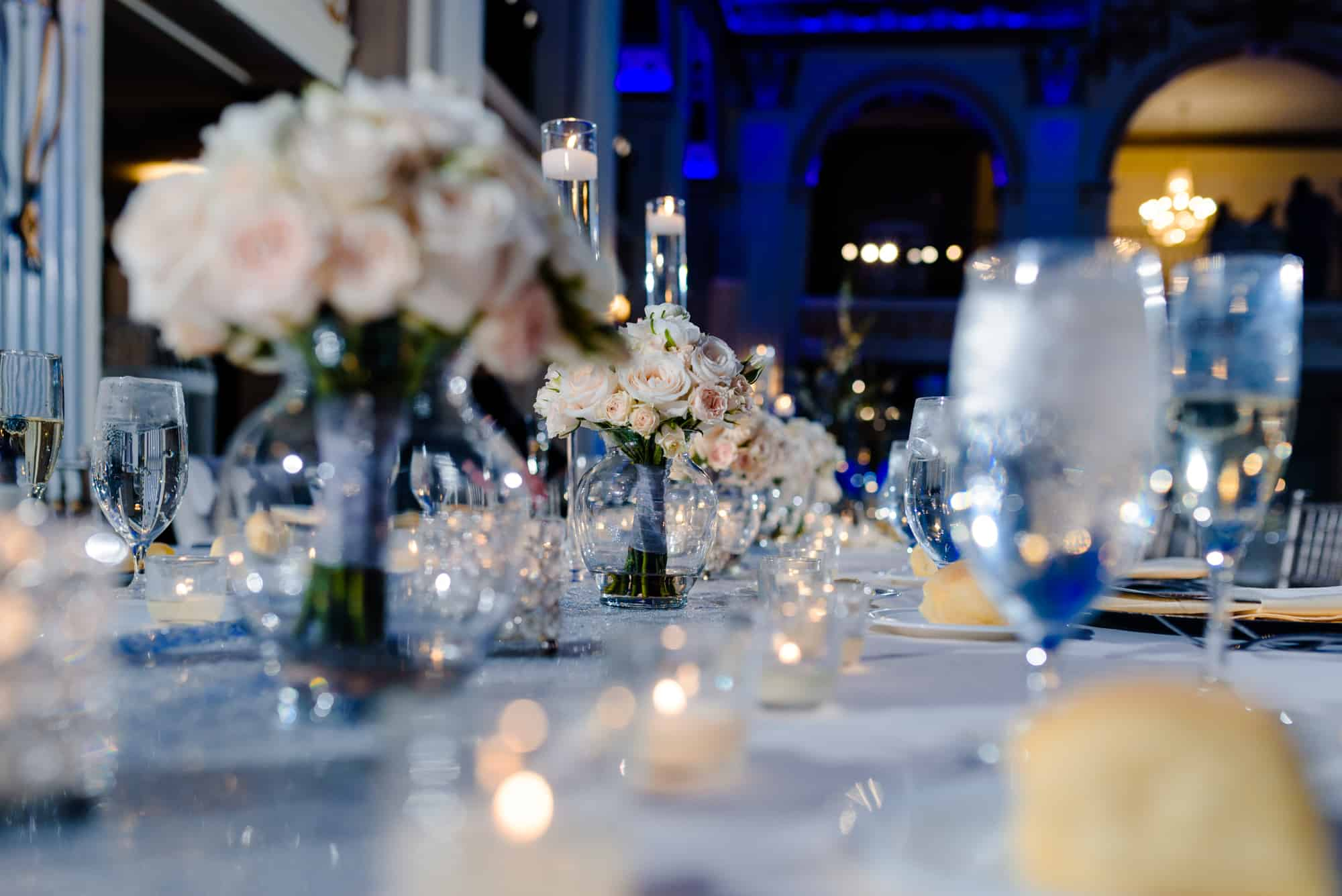 Image of wedding reception centerpiece at the Ballroom at the Ben