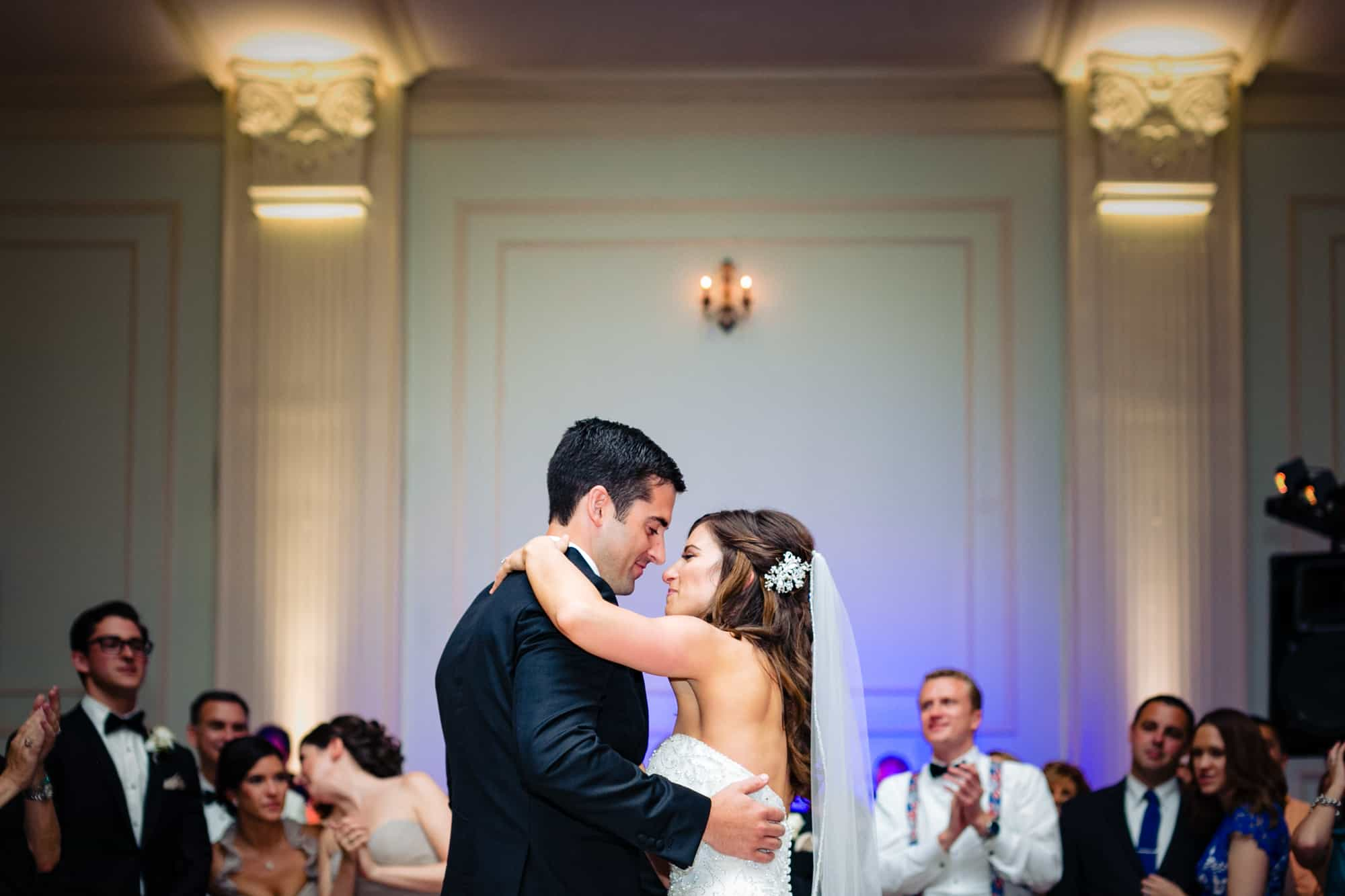 Bride and groom first dance at Cescaphe Ballroom