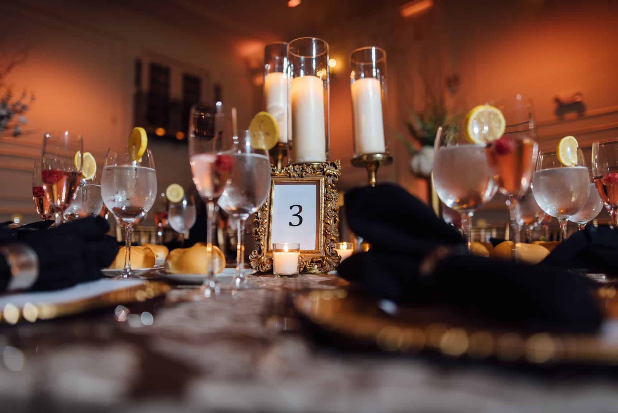 Candle centerpiece on table at wedding reception