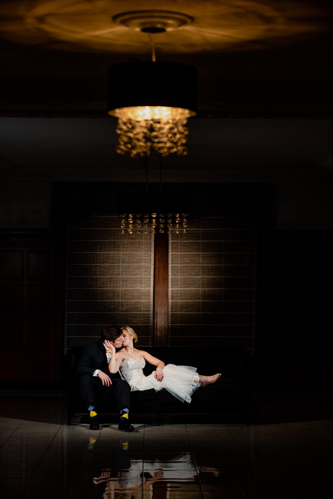 Bride and groom romantic night shot