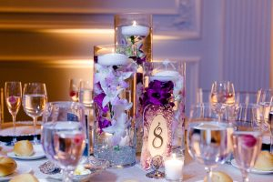 Table centerpiece with floating candles