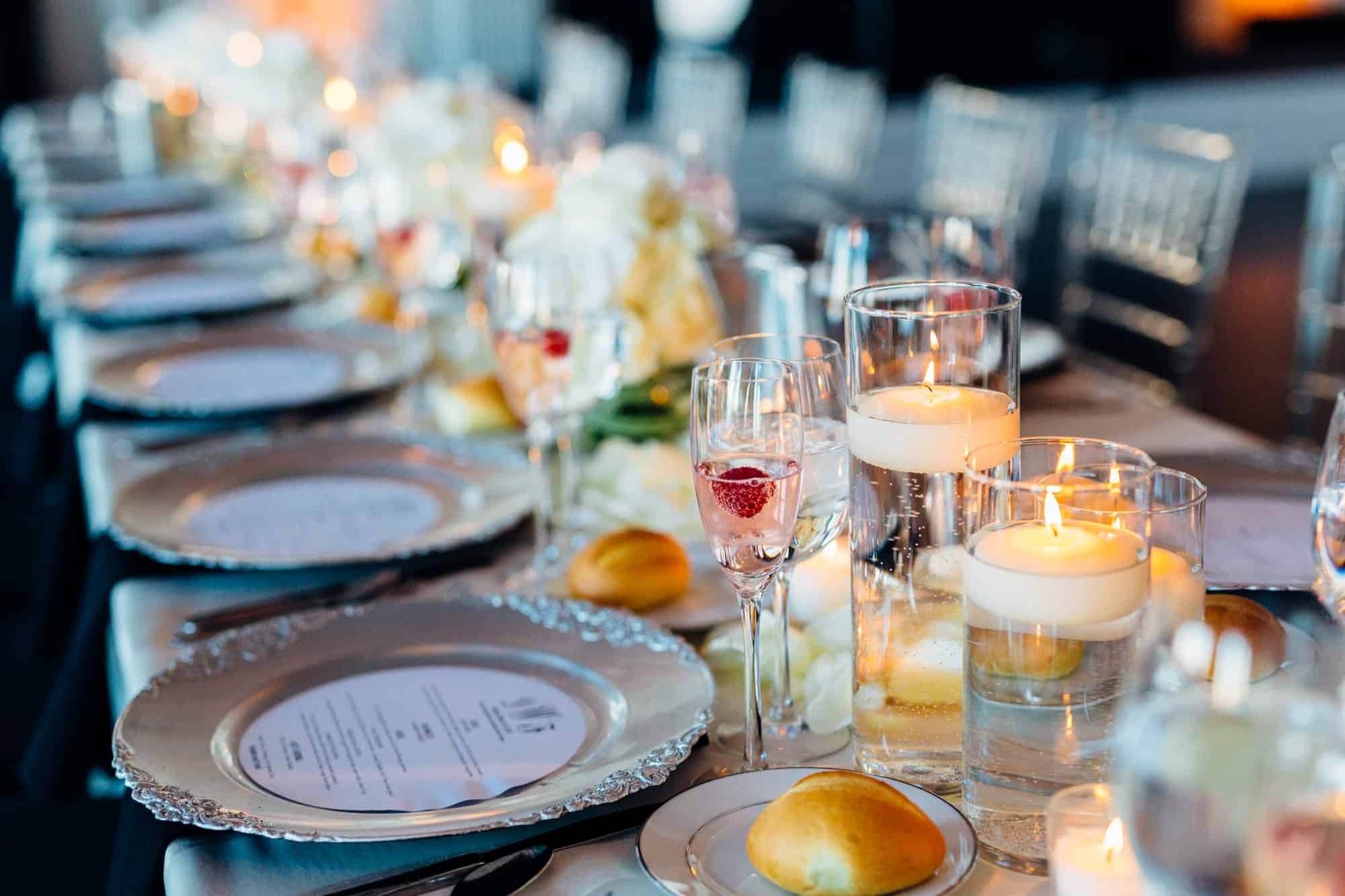 Detail shot of wedding reception dinner table