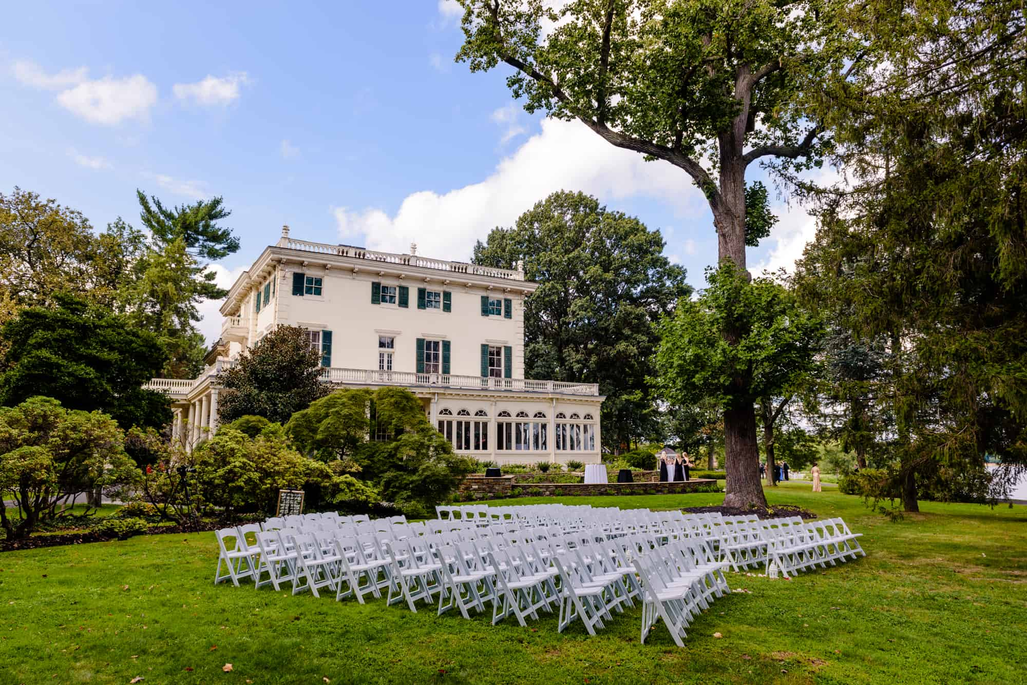 Outside ceremony set up at the Glen Foerd Mansion