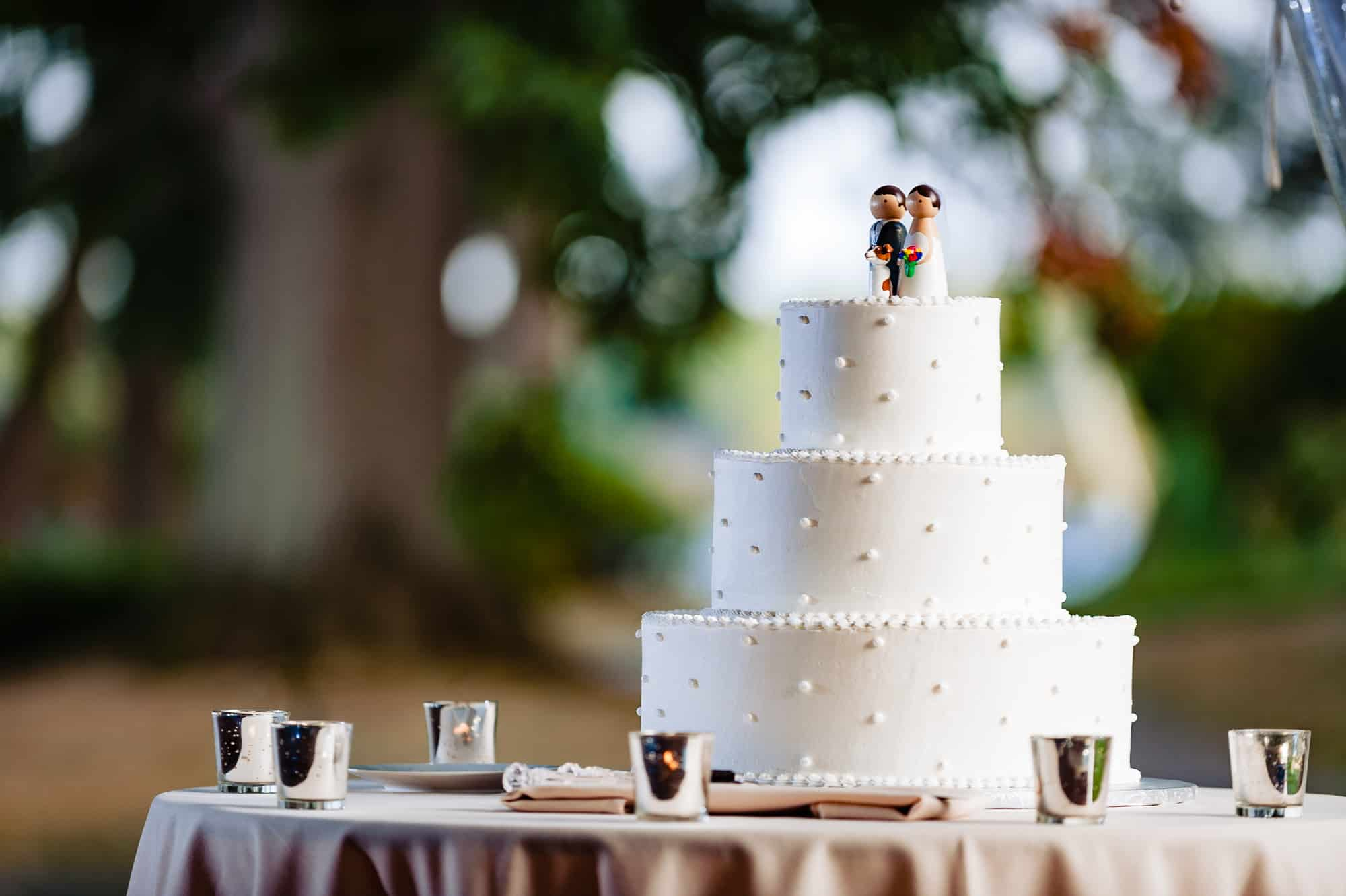 Wedding cake with tiny bride and groom on top