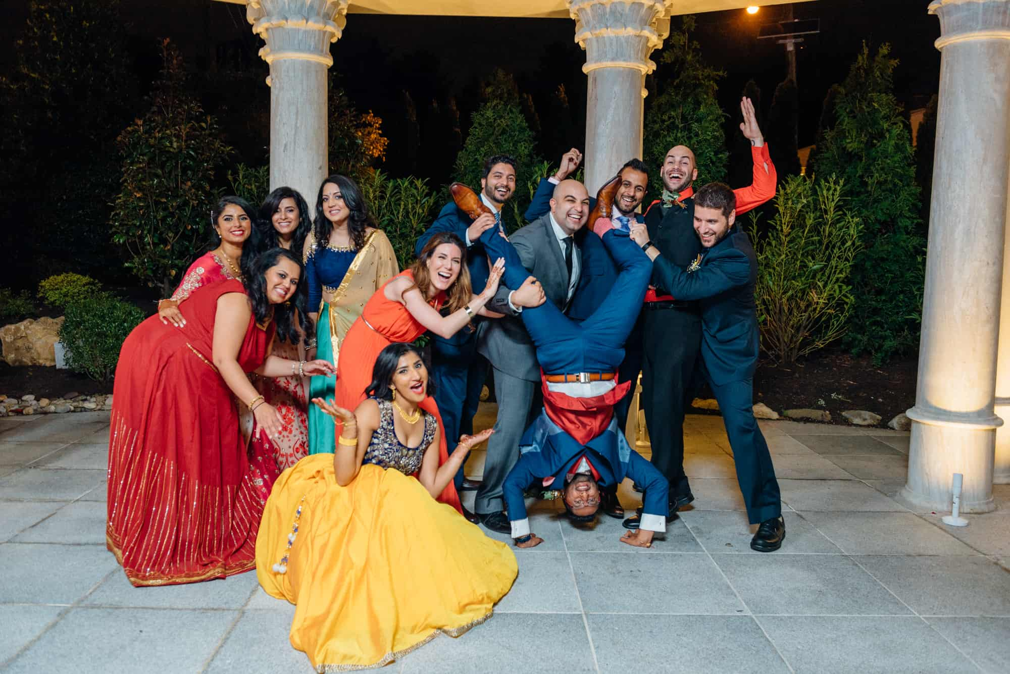Bridal party having fun together