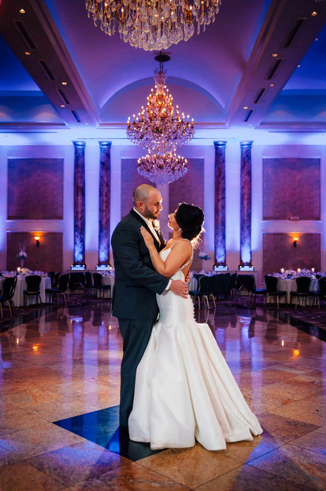 Romantic image of bride and groom