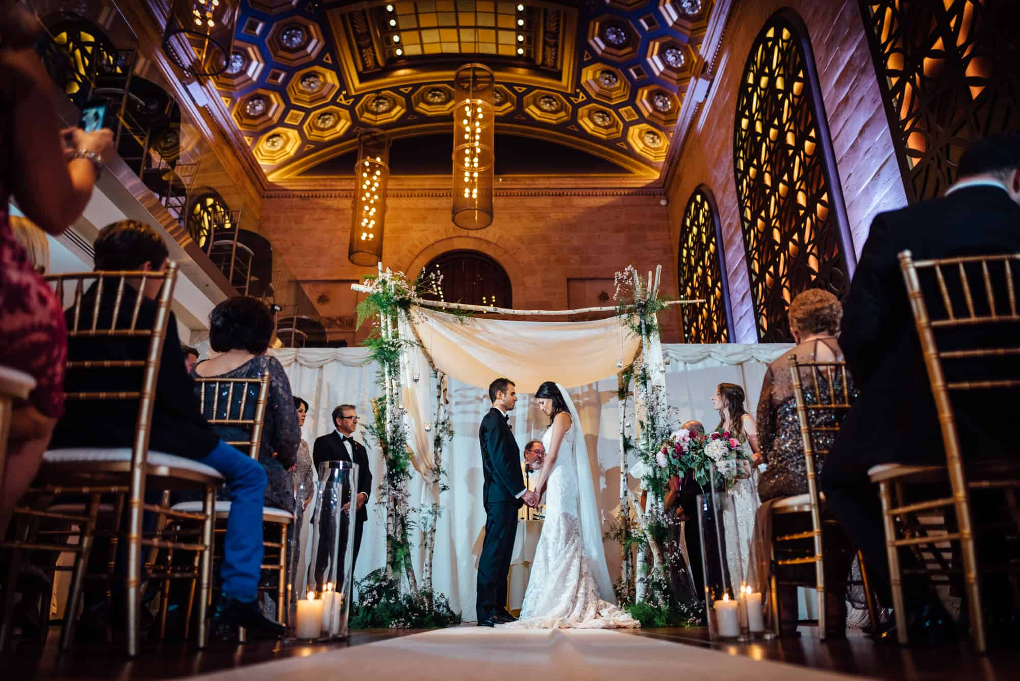 Bride and groom during ceremony at Union Trust Philadelphia