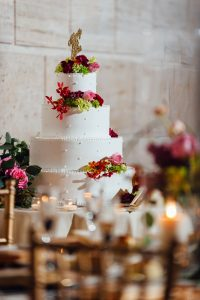 Detail shot of wedding cake at Union Trust Philadelphia