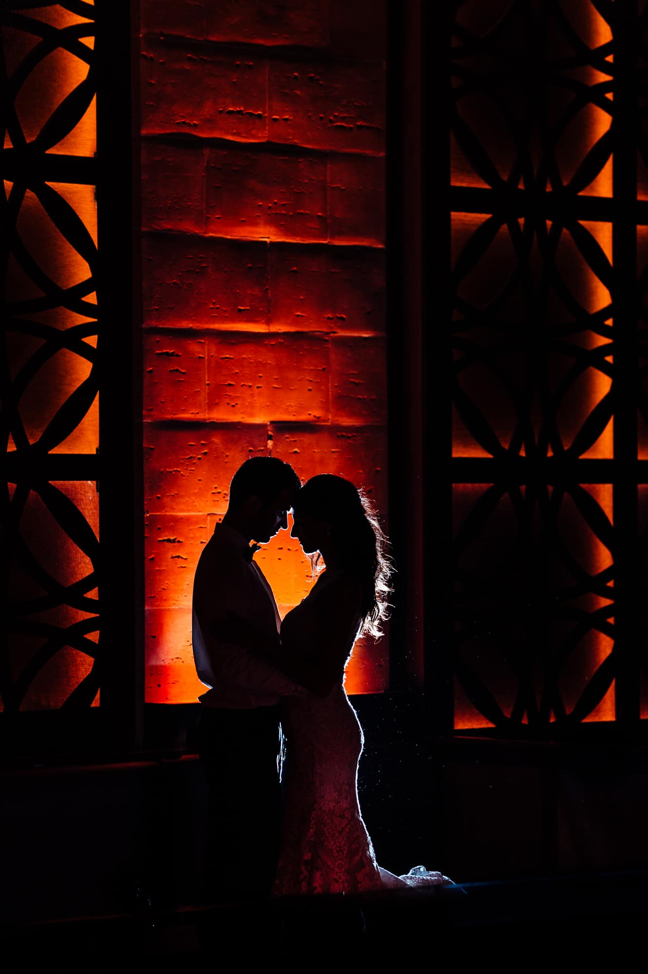 Bride and groom silhouette at Union Trust Philadelphia