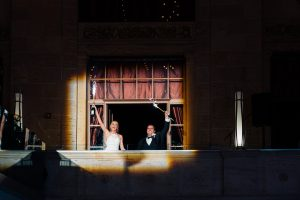 Bride and groom reception entrance at Union Trust Philadelphia
