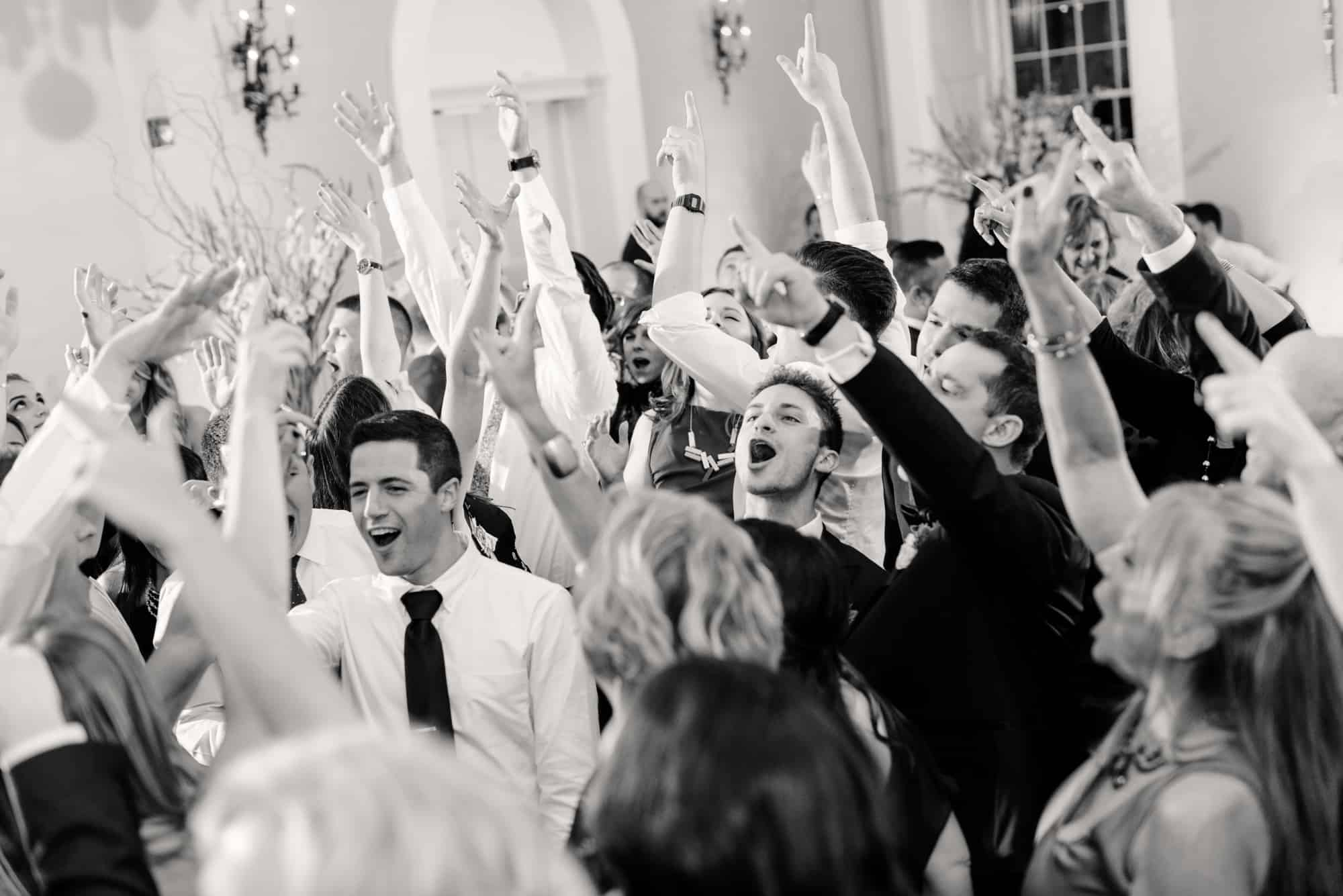 Black and white image of guests on dance floor at Water Works in Philadelphia