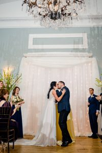 Bride and groom first kiss at Water Works Philadelphia
