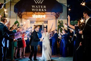 Bride and Groom sparkler exit at Water Works in Philadelphia