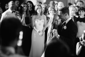 Bride smiling during first dance at the Westin Hotel