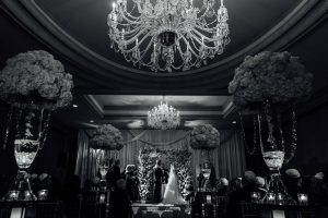 Black and white image of a ceremony at the Westin Hotel