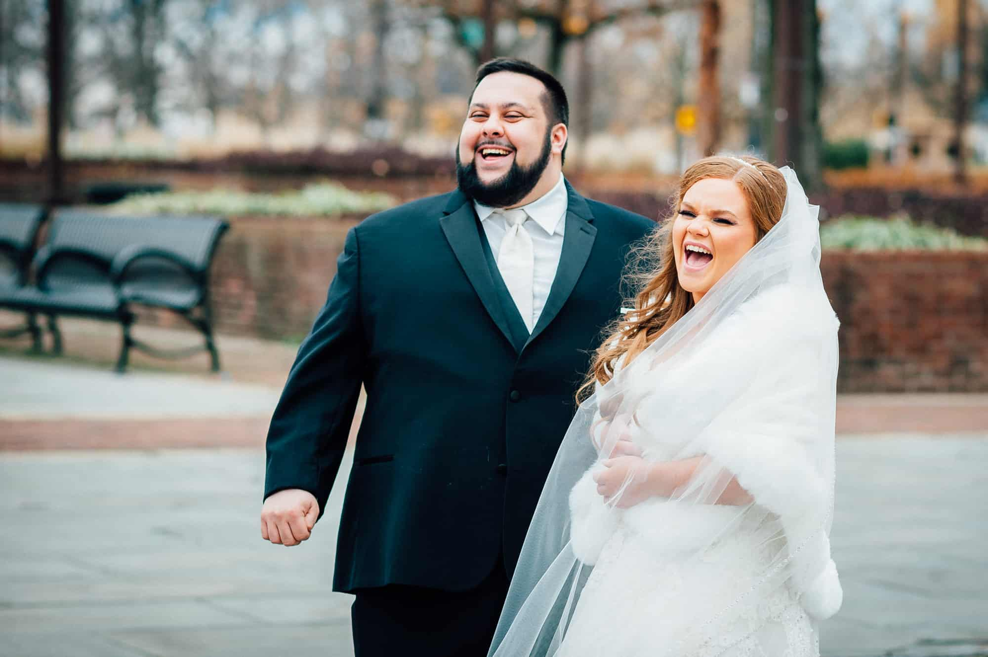 bride and groom laughing in Old City Philadelphia