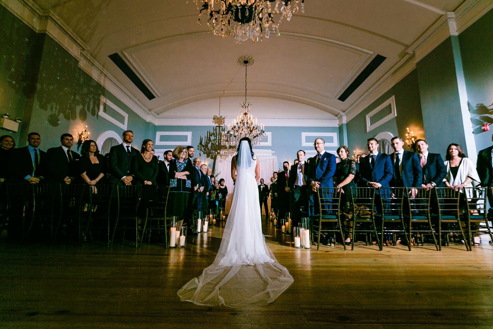 Bride entering ceremony at Waterworks in Philadelphia