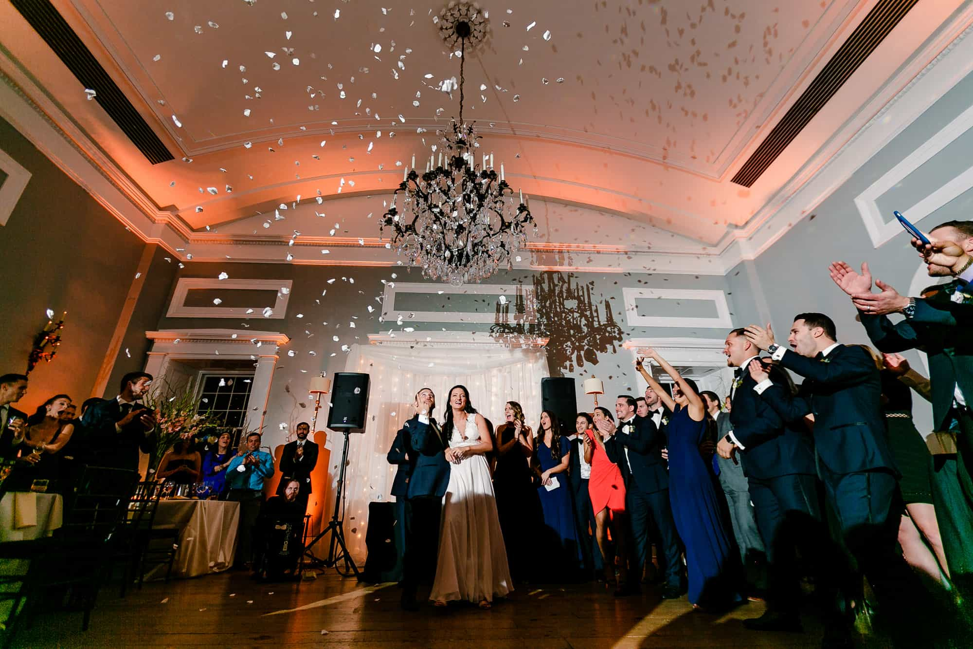 Bride and groom watch confetti rain down at Waterworks in Philadelphia