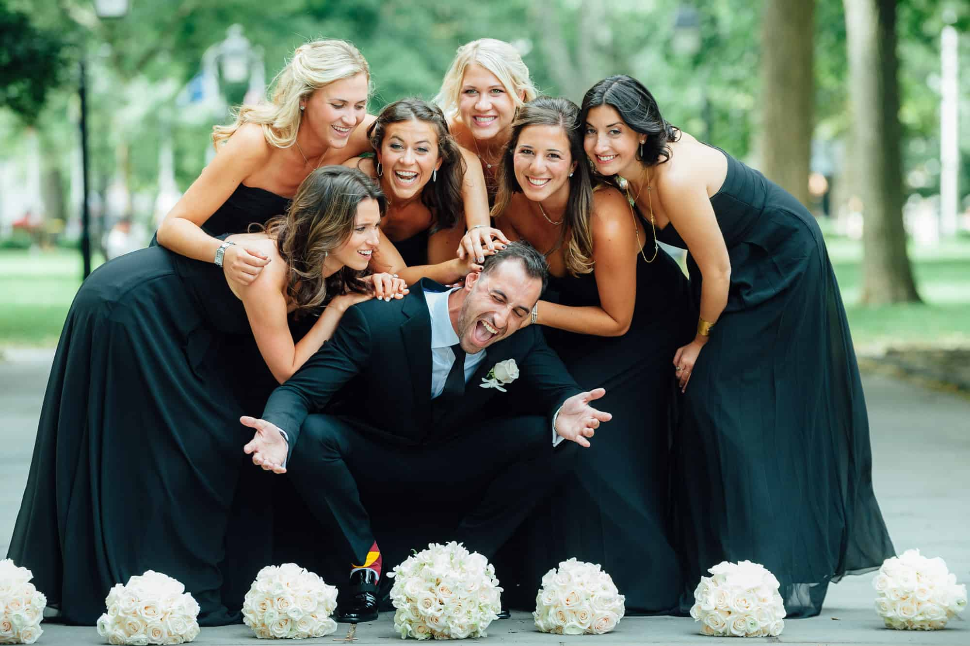 Bridemaids beating up groom