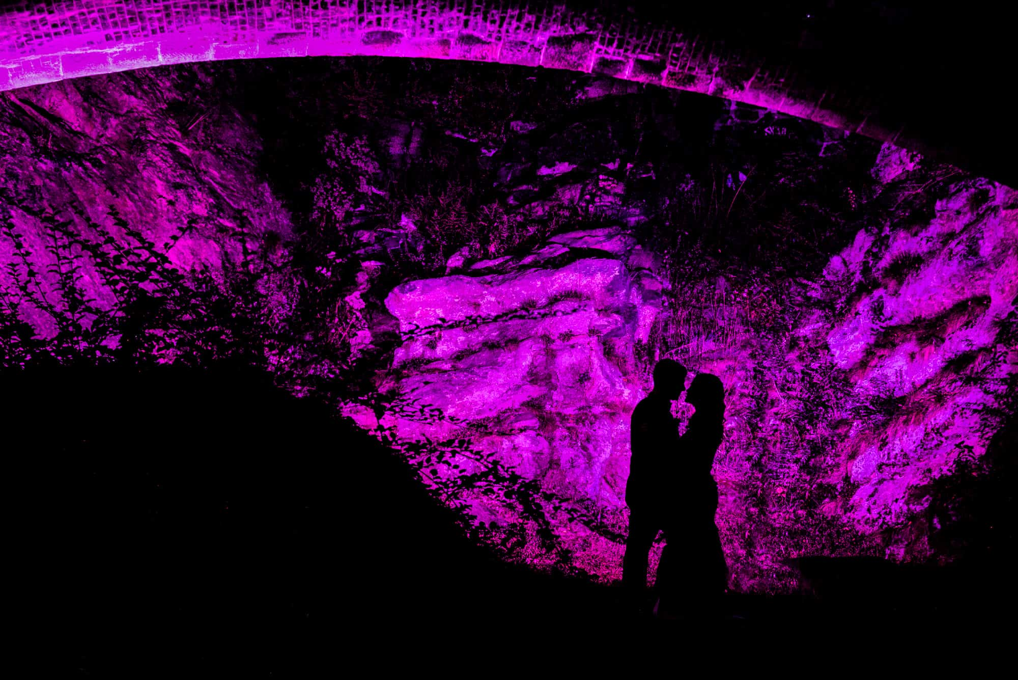 Silhouette of couple against purple background at Water Works Philadelphia