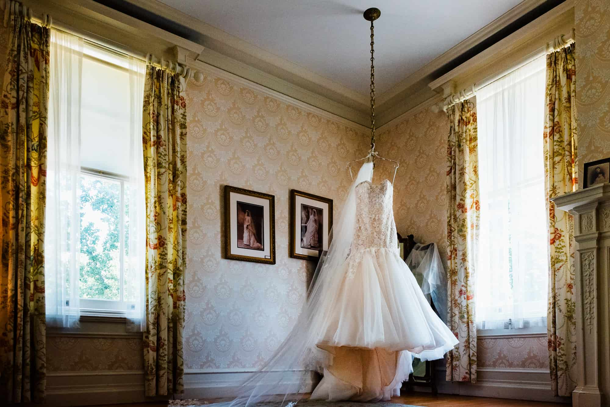 wedding dresses, dress hanging from ceiling