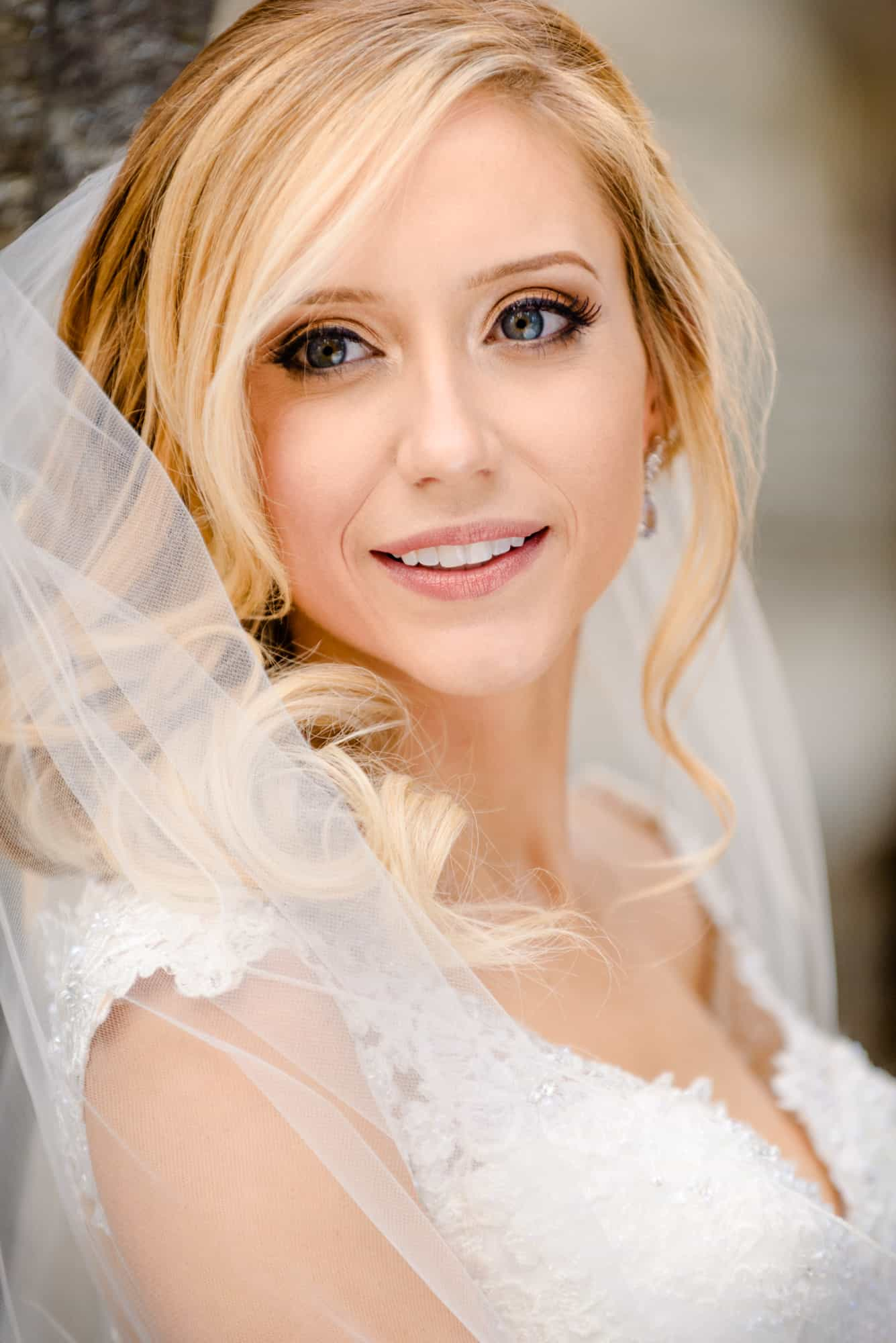 bridal photos, closeup of bride smiling