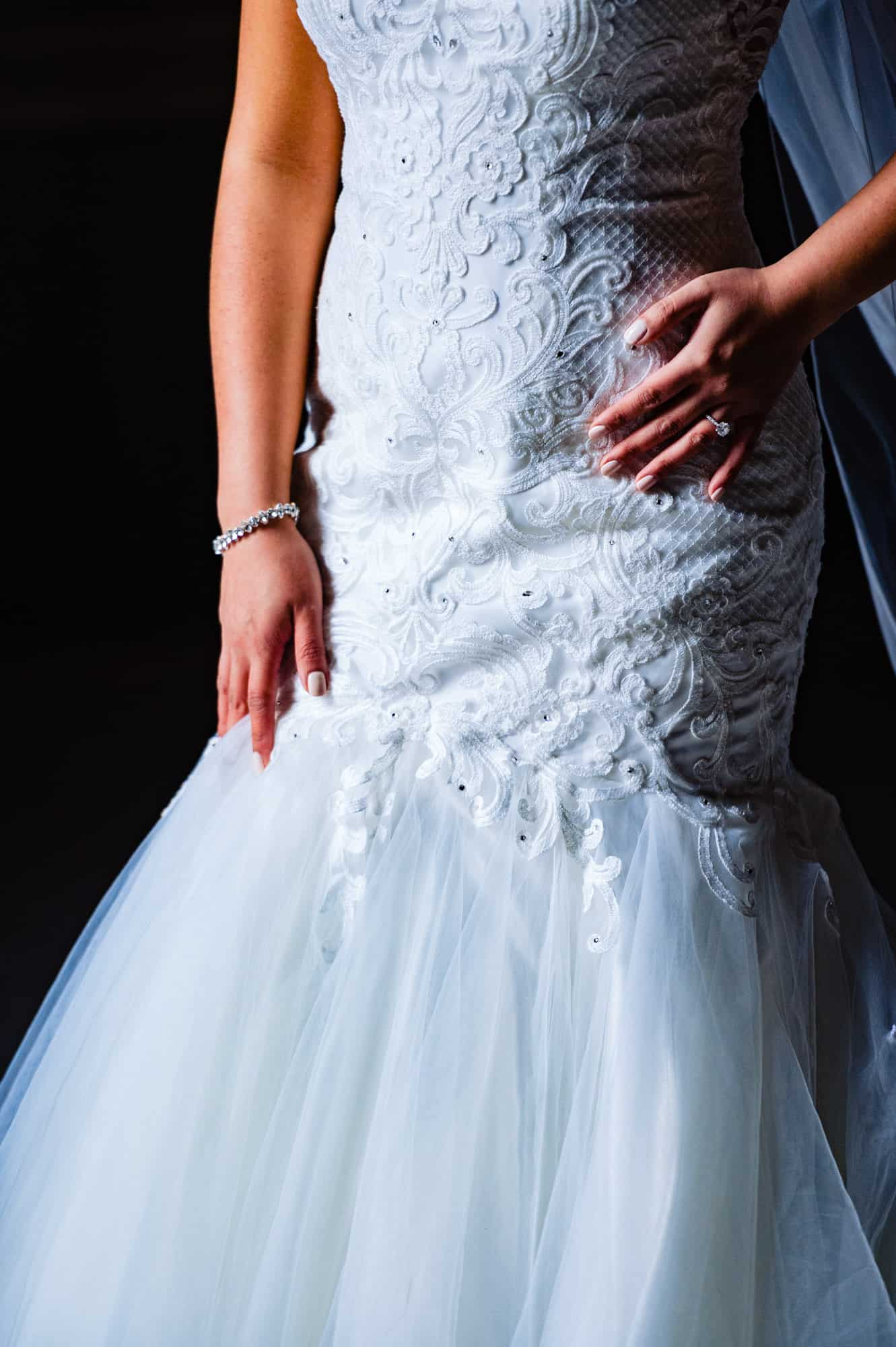 beautiful beaded wedding gown with tulle train