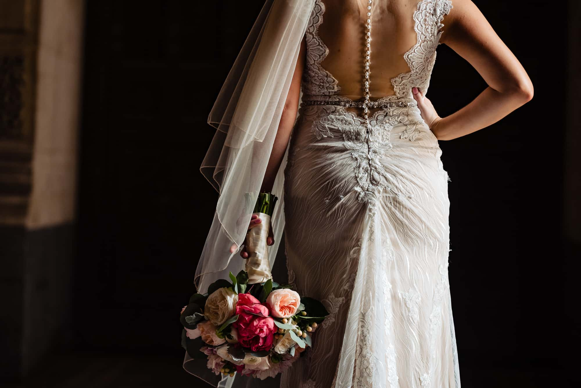 bridal photos, button down back of a lace Maggie Sottero bridal gown