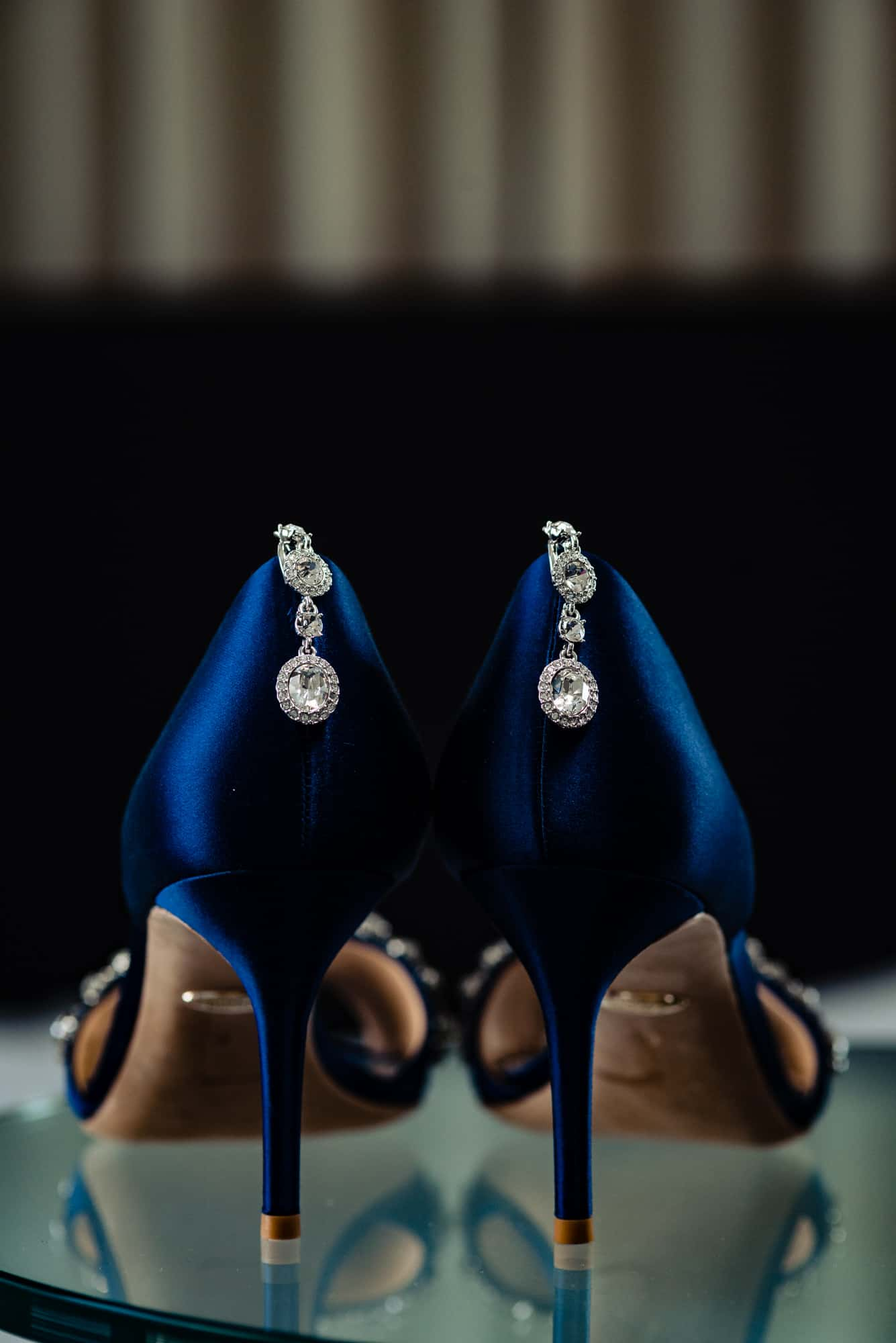 wedding accessories, blue high heeled wedding shoes with earrings attached