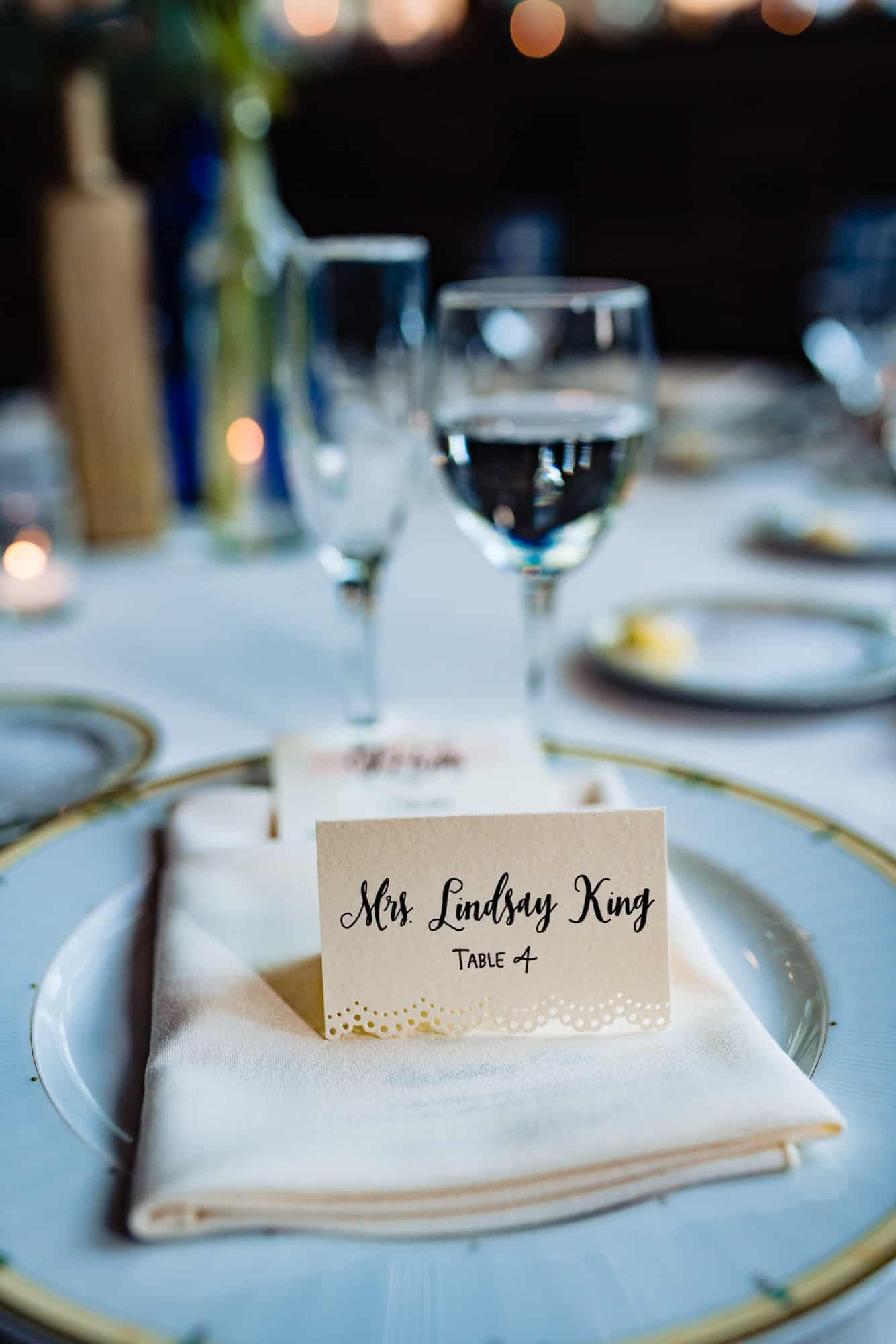 wedding accessories, place setting with name of guest