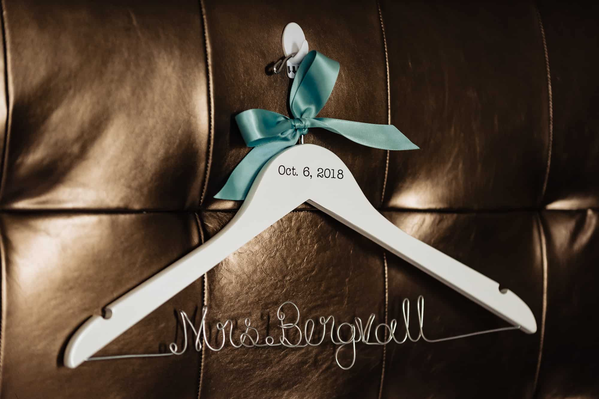 Ritz Carlton Philadelphia Wedding|custom dress hanger for brides dress