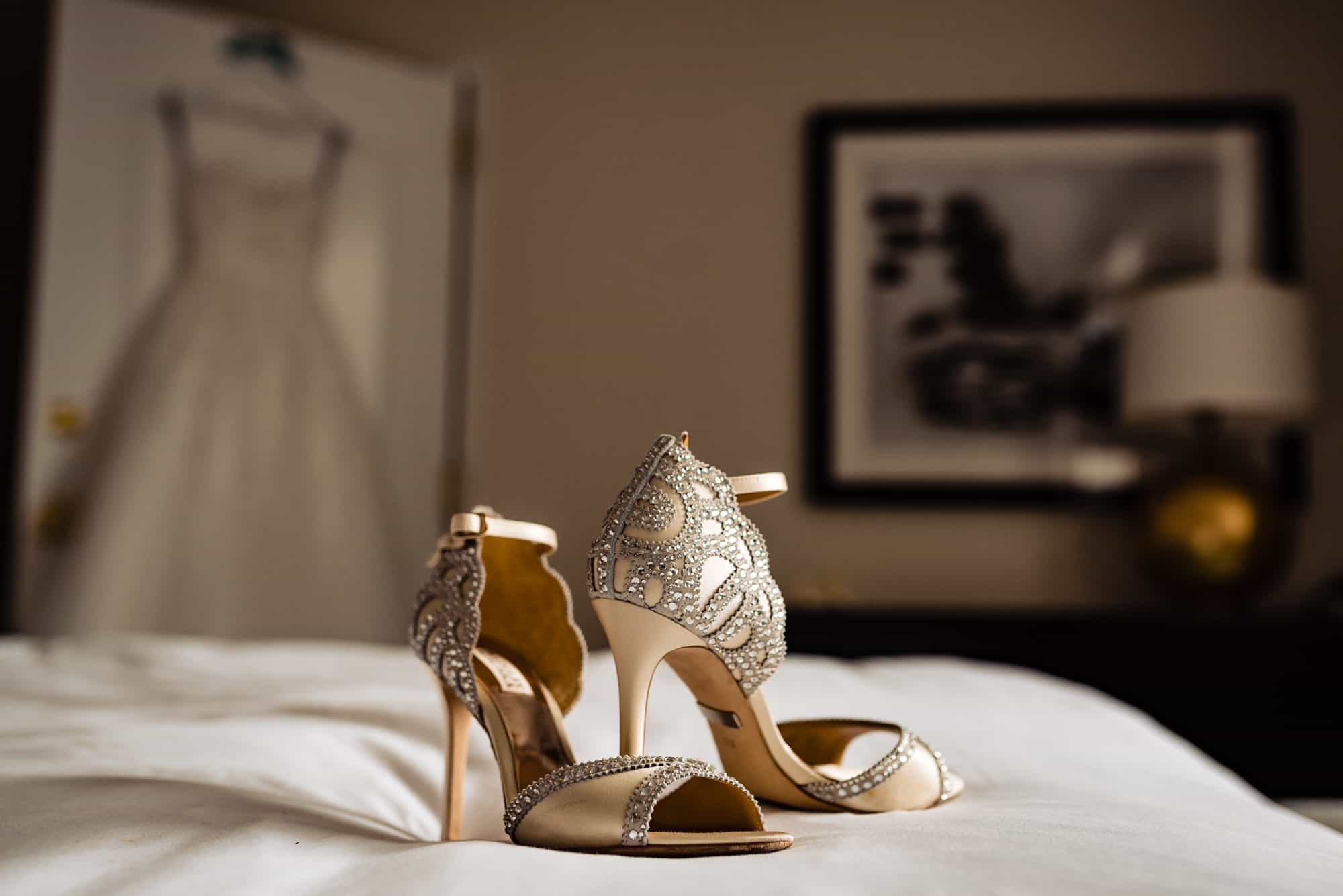 Ritz Carlton Philadelphia Wedding|detail shot of brides shoes with dress in background
