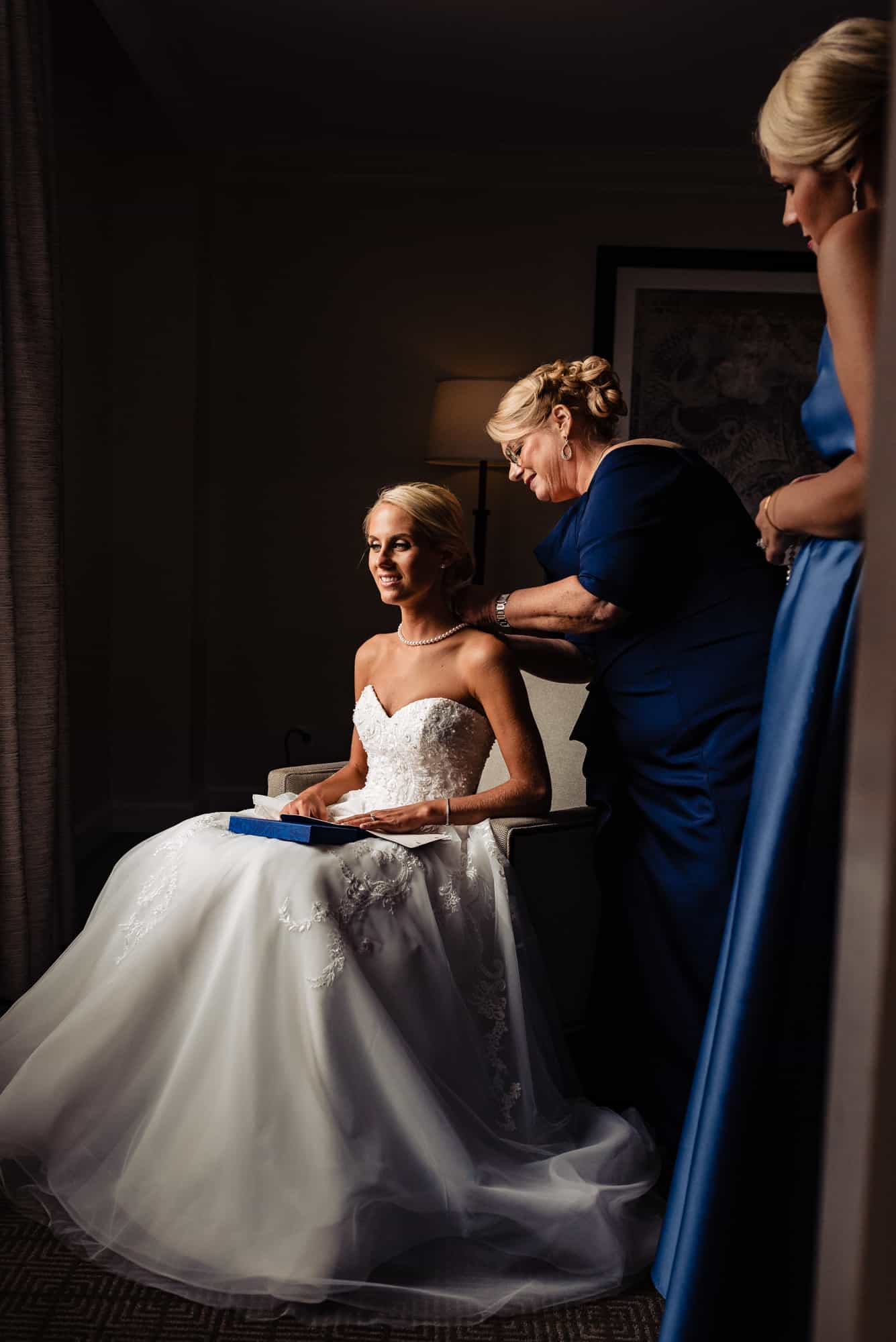 Ritz Carlton Philadelphia Wedding|mother of the bride putting necklace on bride