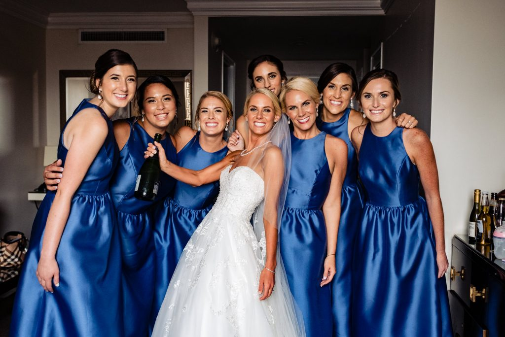 Ritz Carlton Philadelphia Wedding|bride and bridemaids in hotel suite