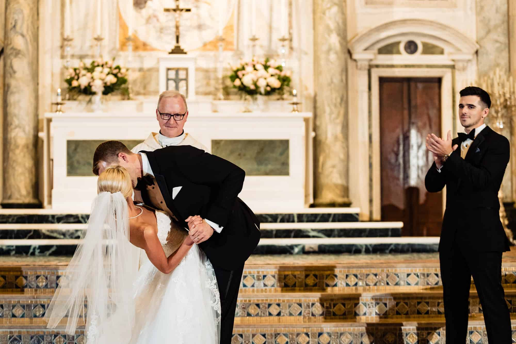 St. Patricks Church|groom kissing bride