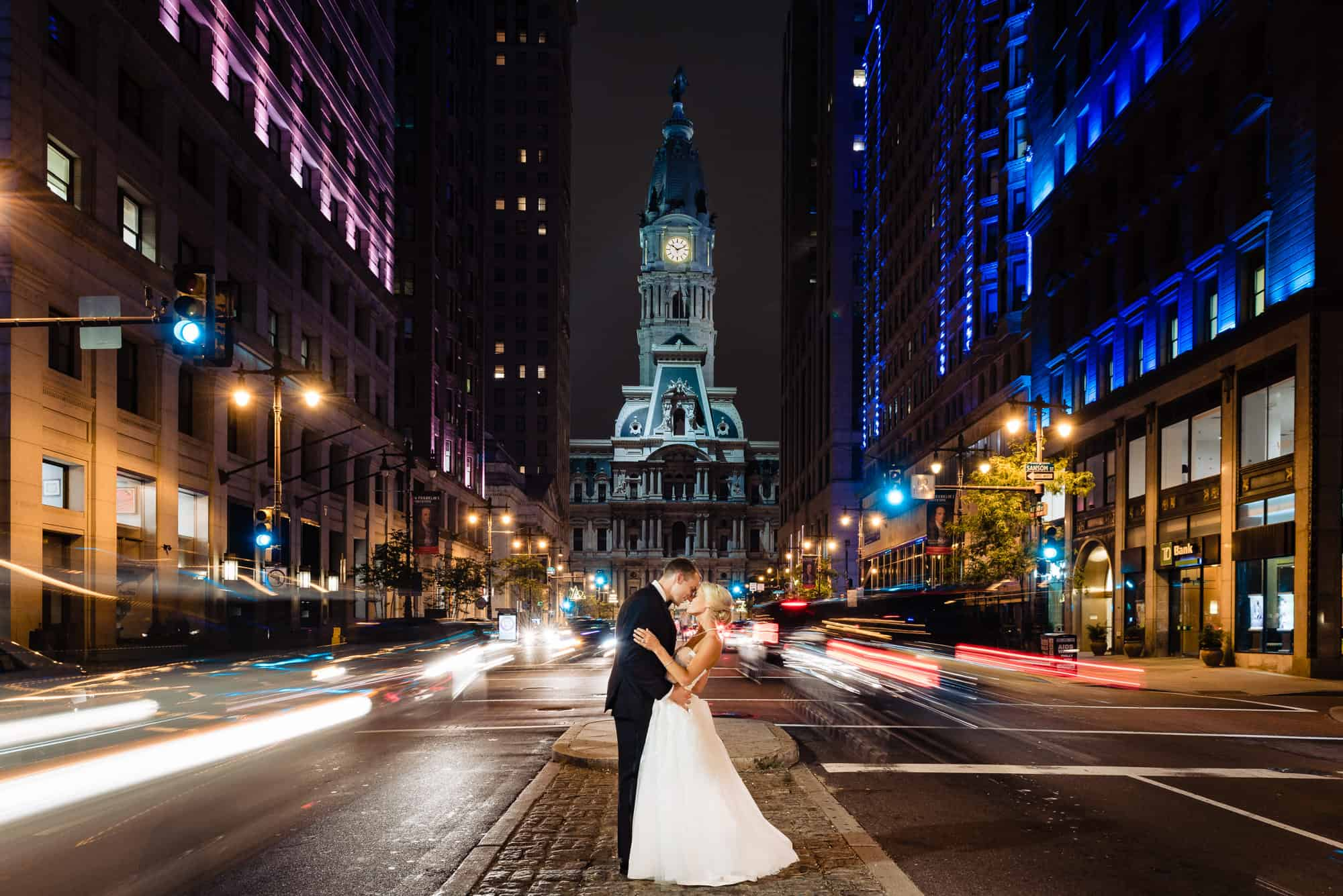 Ritz Carlton Philadelphia Wedding|bride and groom night shot in front of Philadelphia City Hall