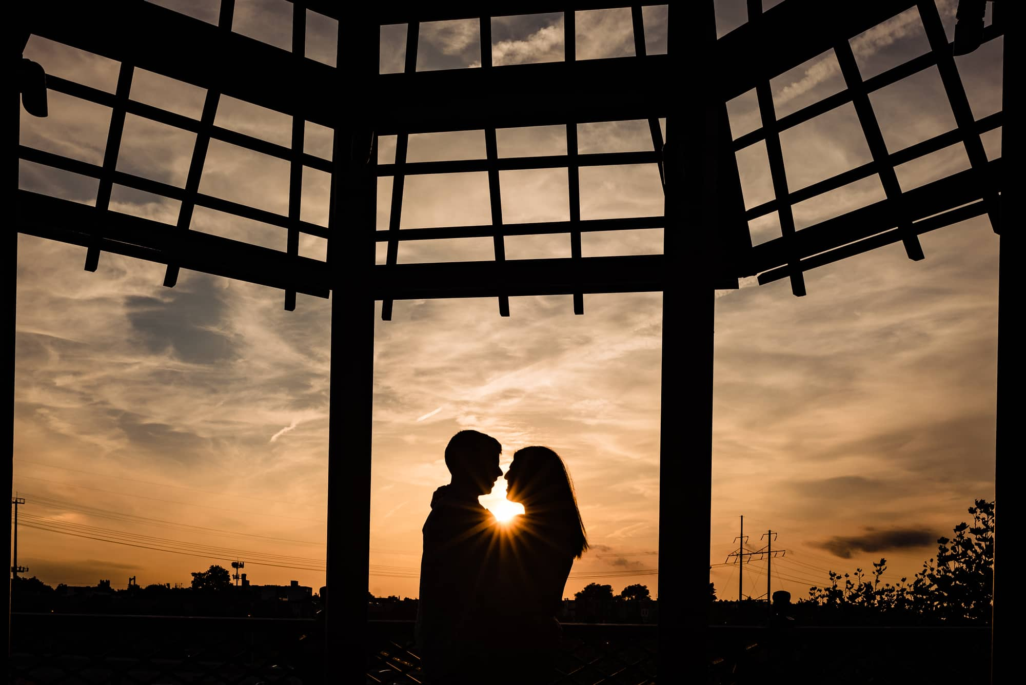 Silhouette of a couple at sunset at the Philadelphia Museum of Art