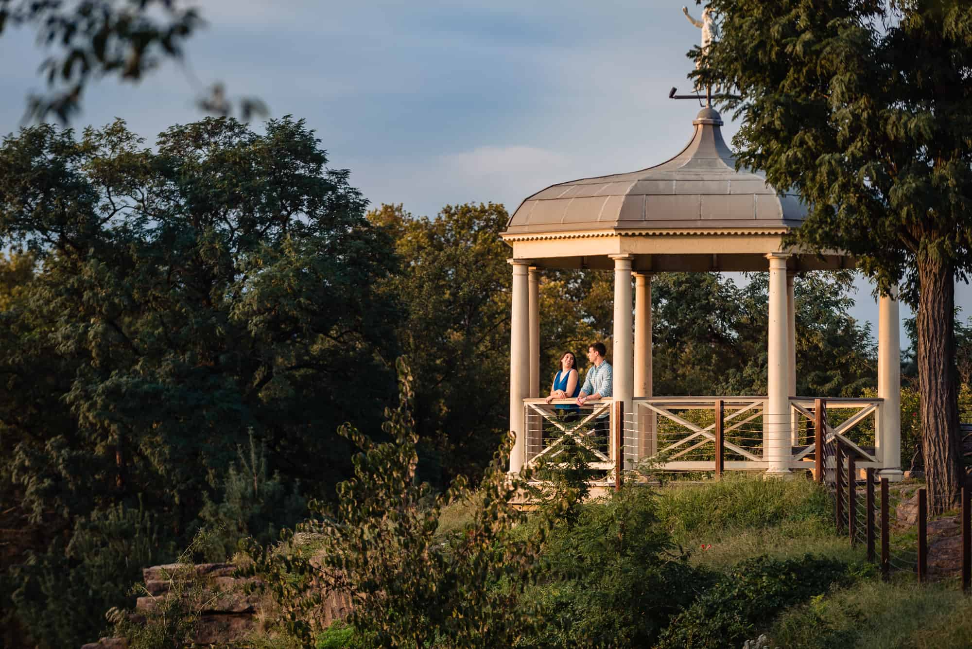 A couple watching the sunset in the gazebo at the Philadelphia Museum of Art