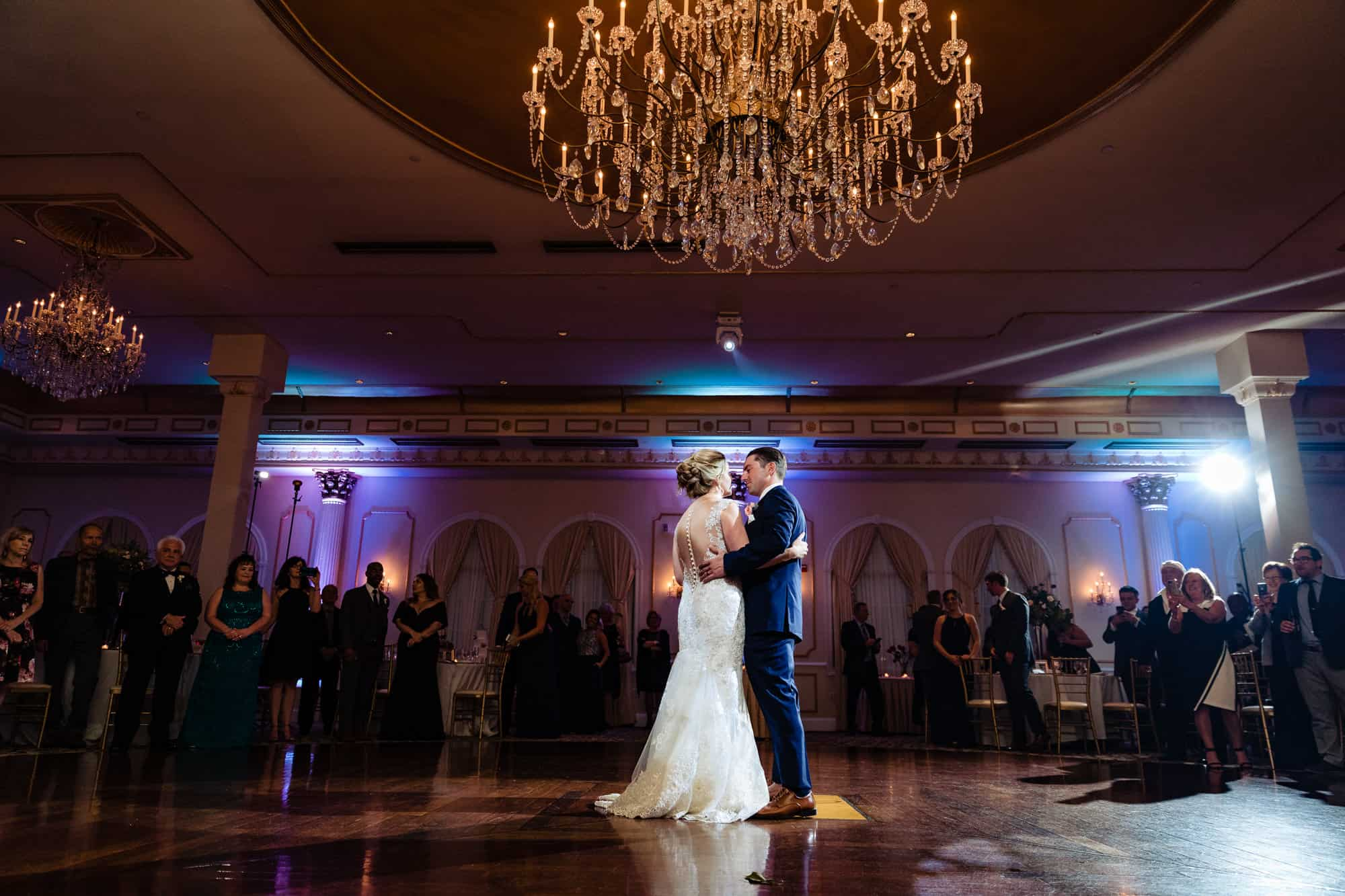 Dramtic image of bride and groom first dance