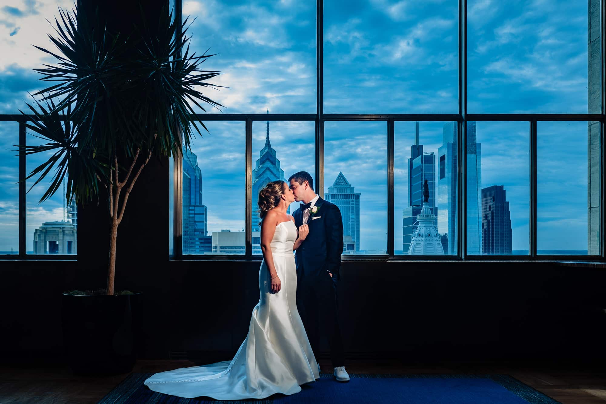 bride and groom portrait at the Loews Hotel in Philadelphia