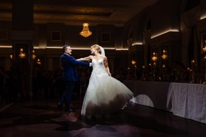 Bride and groom dancing at the Arts Ballroom
