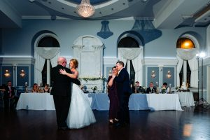 Bride and Groom dancing with their parents at the Arts Ballroom