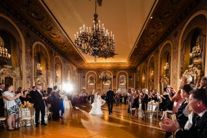 Bride and groom entering reception at Hotel DuPont