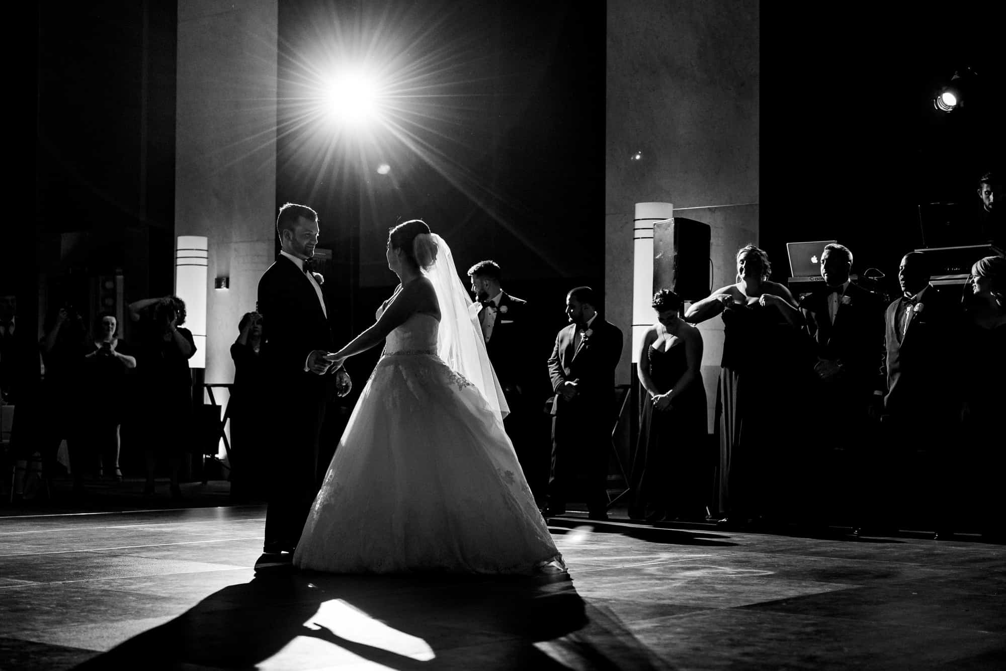 black and white photo of bride and groom first dance at the Loews Hotel in Philadelphia