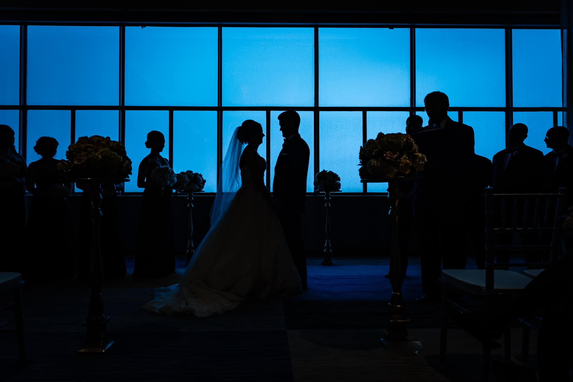 silhouette of wedding ceremony at the Loews Hotel in Philadelphia