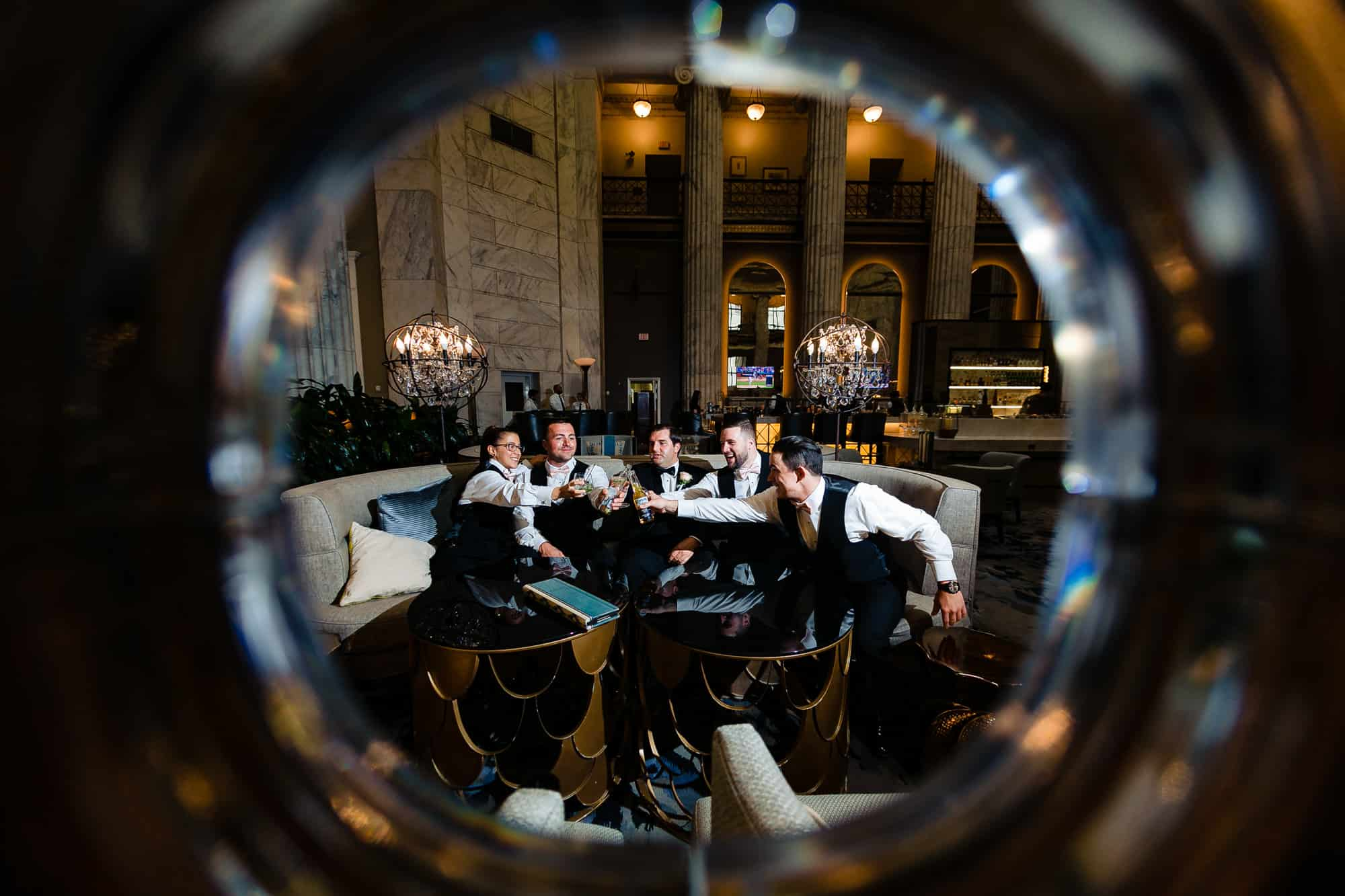 Groomsman toasting the groom at the Ritz Carlton in Philadelphia