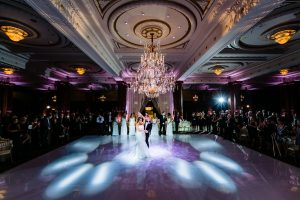 Bride and groom first dance at the Crystal Tea Room in Philadelphia